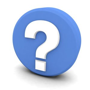 white question mark on blue circle, on white background