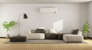 ductless-air-handler-mounted-on-wall-in-modern-home